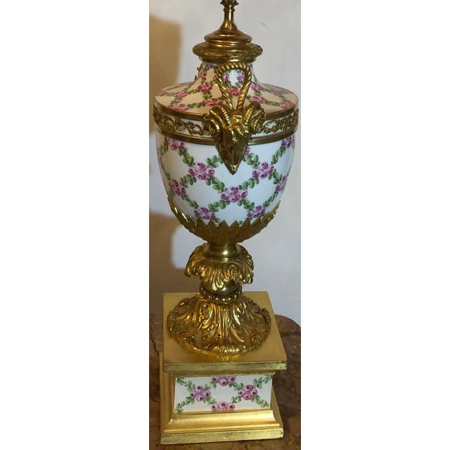 French Table Lamp Trellis Floral Porcelain Urn With Rams Head Gilt Bronze Mounts For Sale In New York - Image 6 of 13