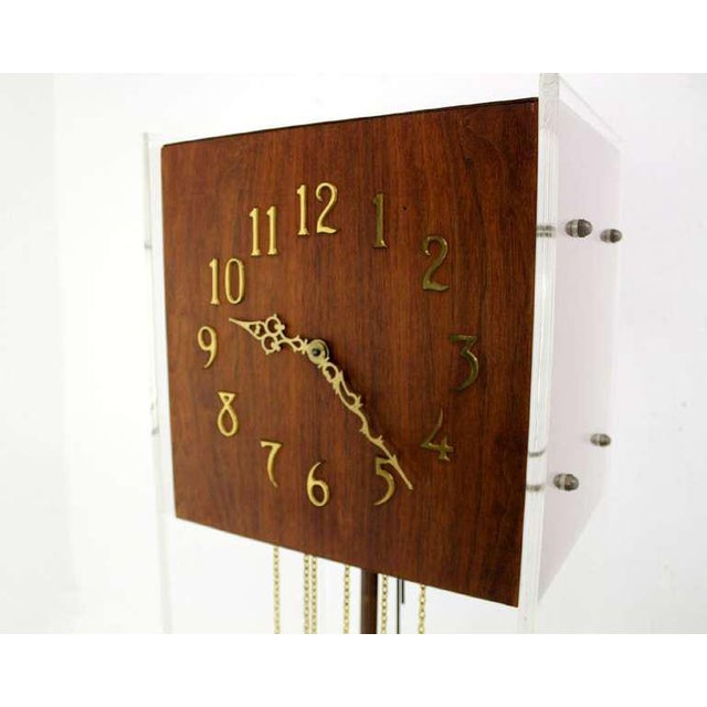 Very nice quality mid-century modern lucite and walnut grandfather clock with chime.