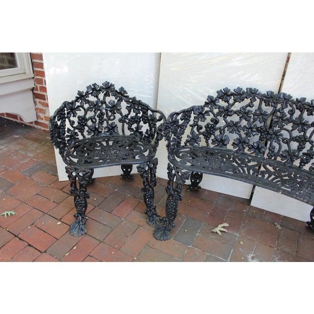 Victorian Antique Victorian Cast Iron Grape Vine Garden Set - 3 Pieces For Sale - Image 3 of 7