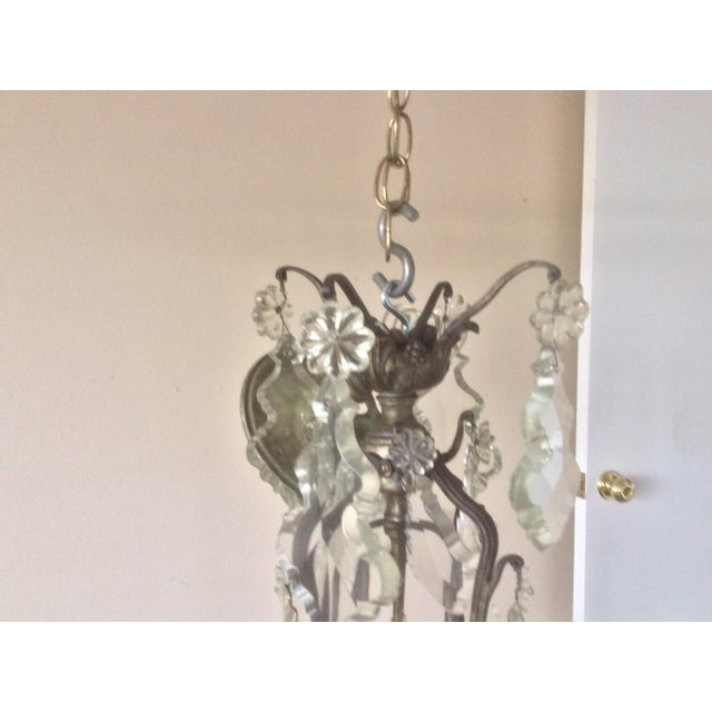 French Four Light Chandelier With Cut Crystal Prisms For Sale In San Antonio - Image 6 of 12