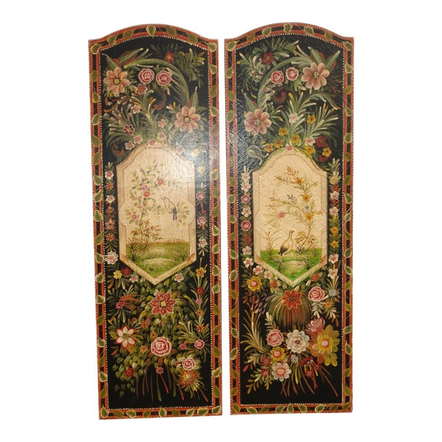 Vintage French Country Maitland Smith Style Wall Panels Floral Pictures For Sale