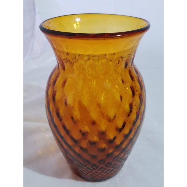 Antique Amber Dimpled Glass Vase With Pontil Bottom For Sale - Image 4 of 4