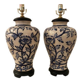 Pair of Vintage Monumental Chinese Ginger Jar Blue Lamps on Wood Base For Sale