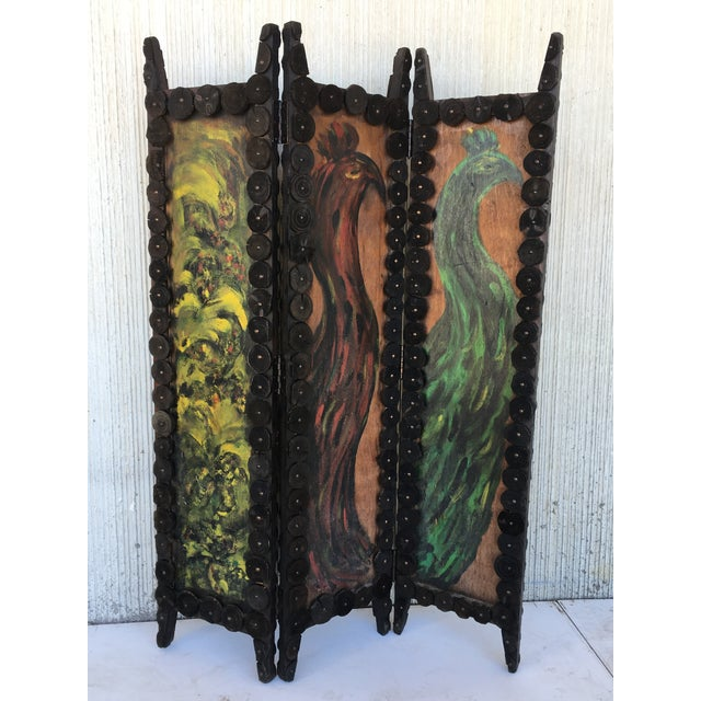 1950s 20th Century Arts & Crafts Folding Screen & Hand Painted Decoration Room Divider For Sale - Image 5 of 13