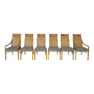 Drexel Heritage Danish Modern Style Pecan Wood Dining Chairs - Set of 6