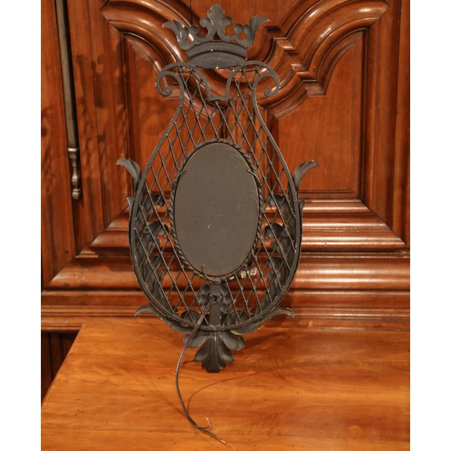 Pair of Early 20th Century French Iron Wall Sconces With Crystal and Mirror For Sale - Image 10 of 11