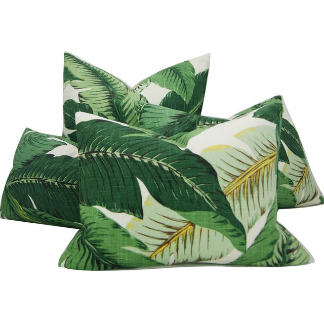 Swaying Palms Green Linen Pillow Cover For Sale - Image 4 of 5