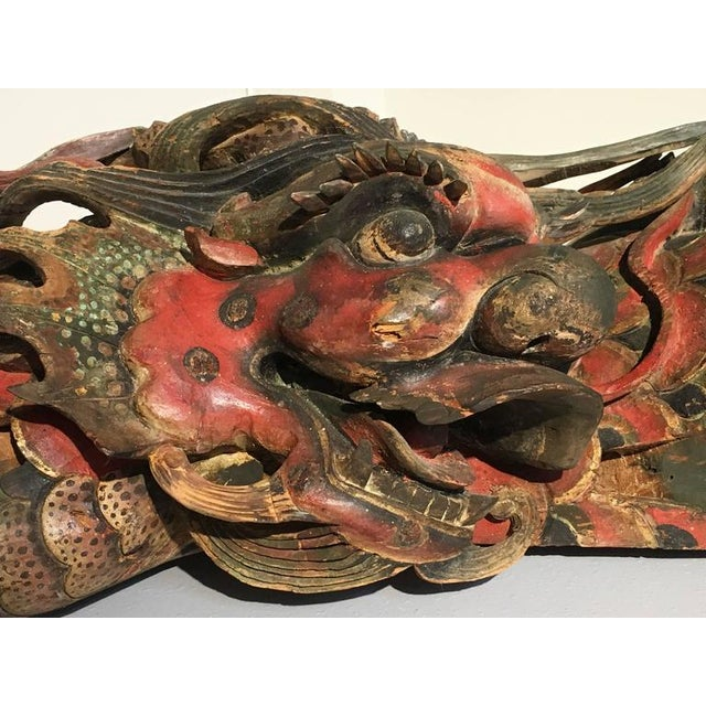 Chinese Folk Carved and Painted Wooden Dragon For Sale In Austin - Image 6 of 9