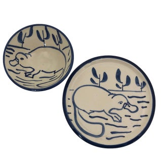 Emily Stackman Australia Studio Pottery Platypus Plate and Bowl - a Set For Sale