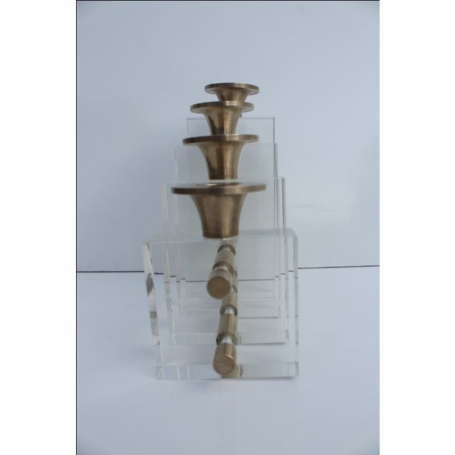 Transparent Karl Springer Style Lucite and Brass Candleholder For Sale - Image 8 of 9