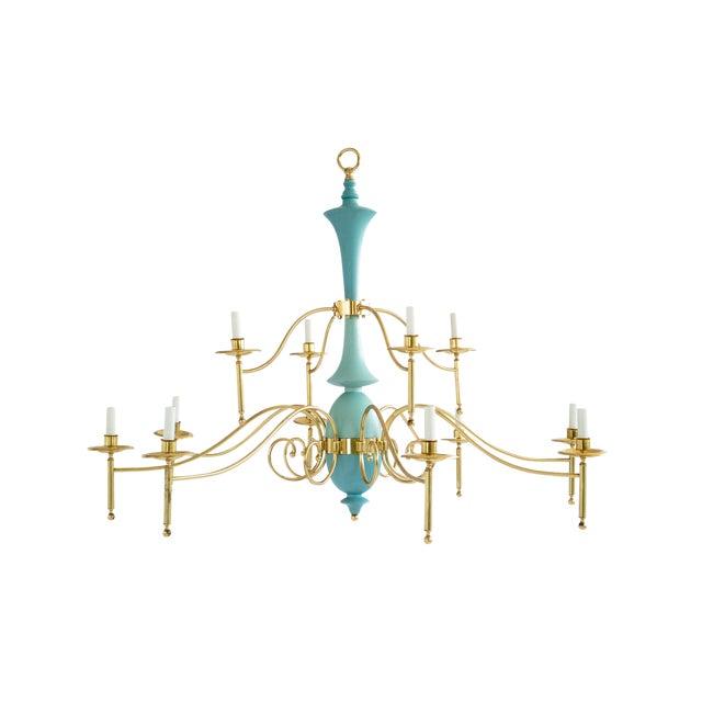 Large Brass Multi-Arm Chandelier For Sale