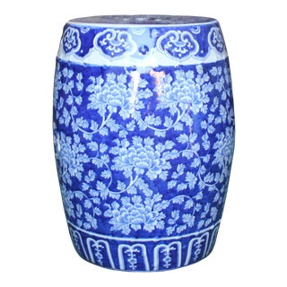 Chinese Blue & White Porcelain Floral Theme Round Stool Table For Sale