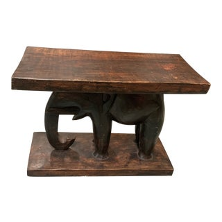 Late 20th Century Carved Elephant Acccent Table For Sale