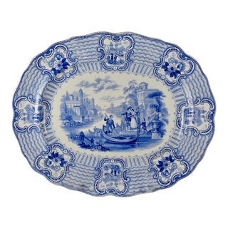 19th C. Adams & Sons Blue & White Transferware 'Bologna' Platter For Sale