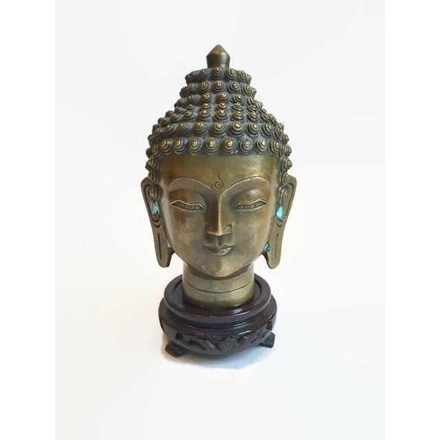 Vintage Tibetan Solid Brass Buddha Bust - Image 5 of 7