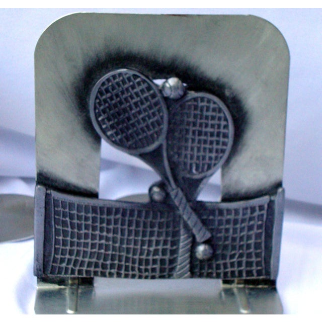 Vintage Silver Metal Tennis Bookends - Image 7 of 9