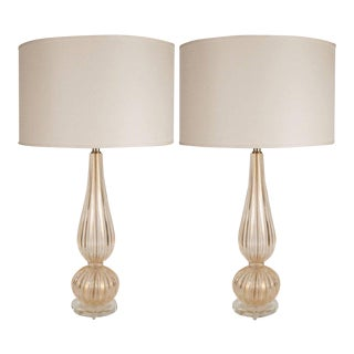 Contemporary 24 Karat Yellow Gold Fleck Handblown Modernist Murano Table Lamps - a Pair For Sale