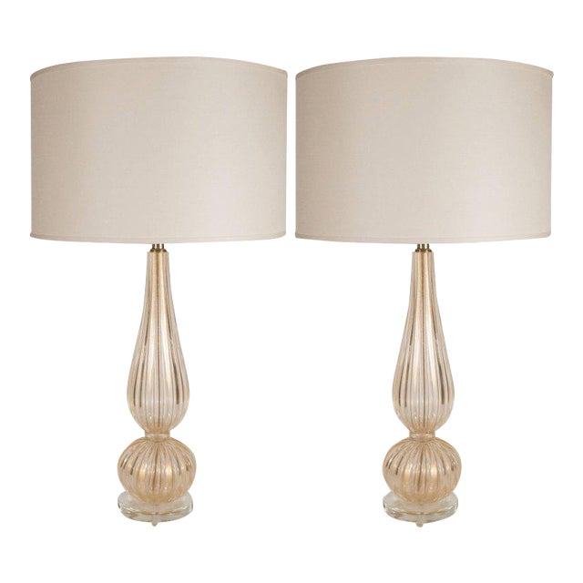 Distinguished handblown modernist murano table lamps with 24 karat handblown modernist murano table lamps with 24 karat yellow gold flecks image 1 of aloadofball Images