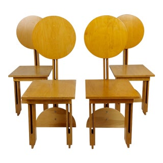 Modern Conceptual Plywood with Laminated Oak Chairs -Set of 4 For Sale