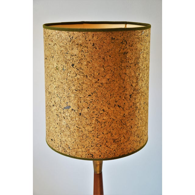 1960s Walnut and Brass Table Lamp With Vintage Cork Shade For Sale - Image 4 of 10