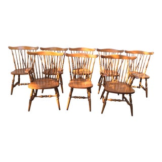 1960s Tradtiional Sprague Carleton Solid Maple Windsor Chairs - Set of 8 For Sale