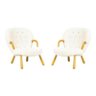 Pair of Philip Arctander Clam Chairs Freshly Reupholstered in Shearling For Sale