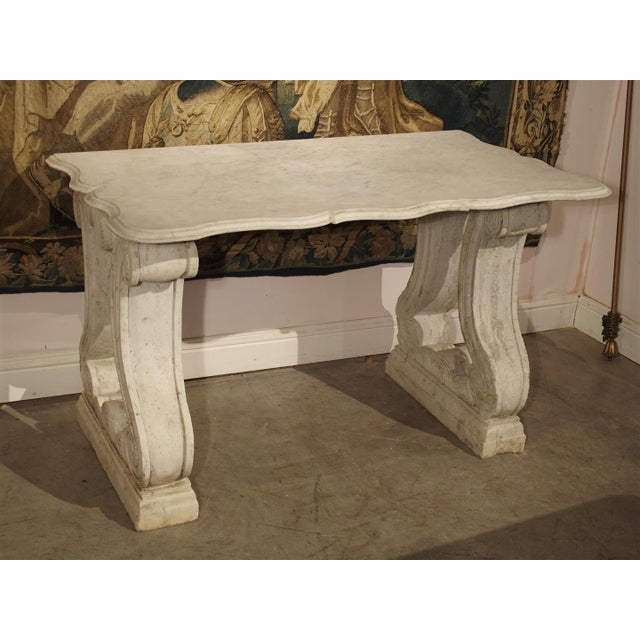 Antique Carved White Marble Console Table from France, 19th Century For Sale - Image 10 of 13