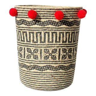 Borneo Tribal Drum Basket - with China Red Pom-poms