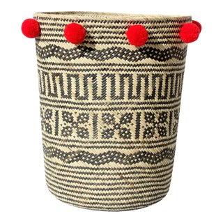 Borneo Tribal Drum Basket - with China Red Pom-poms