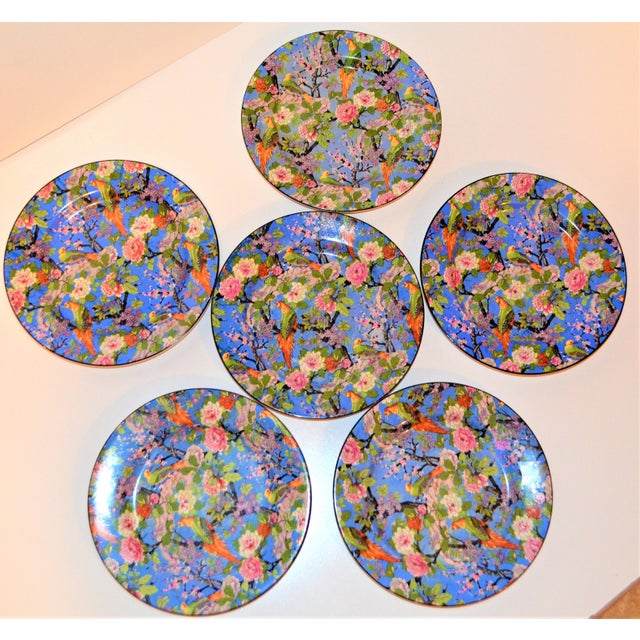 Boho Chic 1920's Antique Crown Ducal Blue Chintz Plates - Set of 6 For Sale - Image 3 of 11