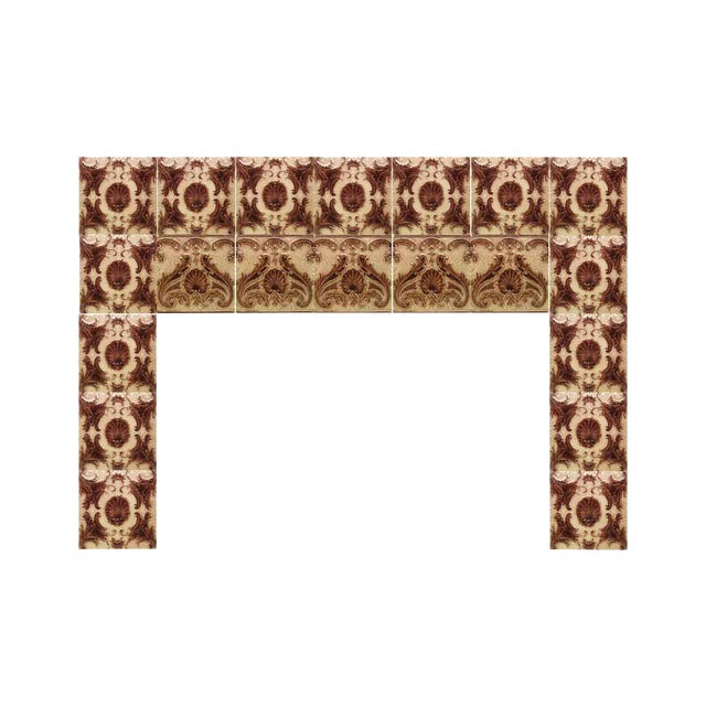 Victorian Minton Hollins Shell Fireplace Surround Tiles - Image 1 of 7