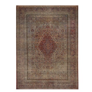 Antique Kashan Red and Blue Silk Persian Rug- 7′ × 9′7″ For Sale