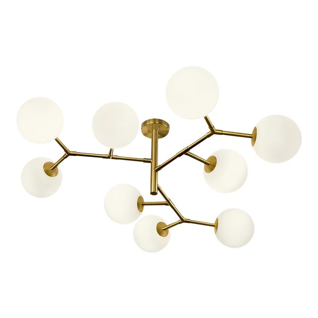 Constellation Brushed Brass 9 Arm Pendant Light For Sale