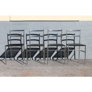 1970's Modern Chrome W/ Black Heavy Plastic Weave Dining Chairs-Set of 4 Preview