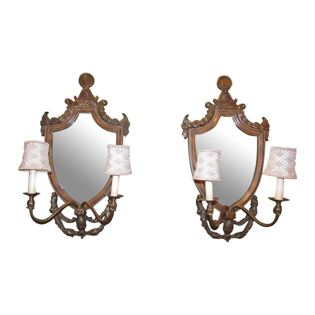 Vintage Mirror Back Wall Sconces - A Pair - Image 1 of 6