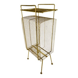 Atomic Modern Mid Century Modern Brass Phone Stand 1950s Googie Gold Retro Telephone Table For Sale