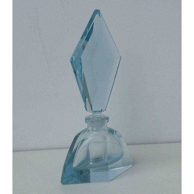 Czechoslovakian Light Blue Faceted Perfume Bottle - Image 5 of 11