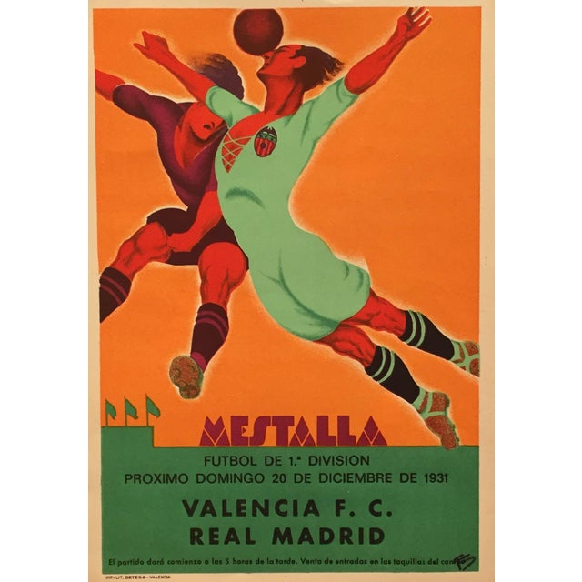 Small size soccer poster for a match between the Valencia Football club and a British soccer team on April 15th, 1929....