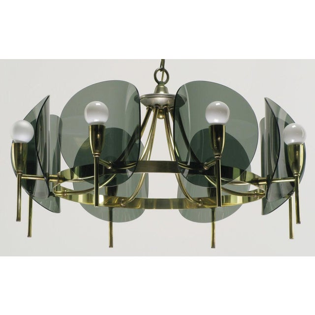 Mid-Century Modern Brass & Smoked Acrylic Eight Arm Chandelier For Sale - Image 3 of 7