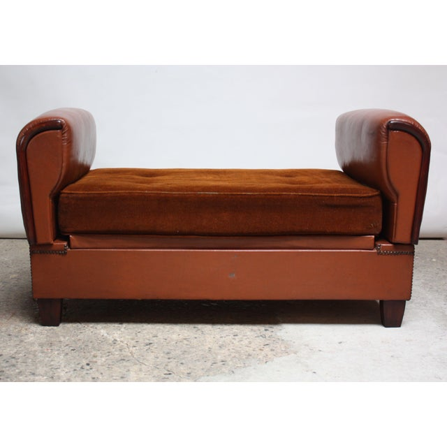 French Deco Leather and Mohair Daybed - Image 4 of 11