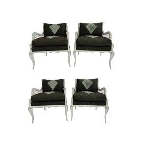 Vintage Mid Century Maison Jansen Harlequin Armchairs- Set of 4 For Sale