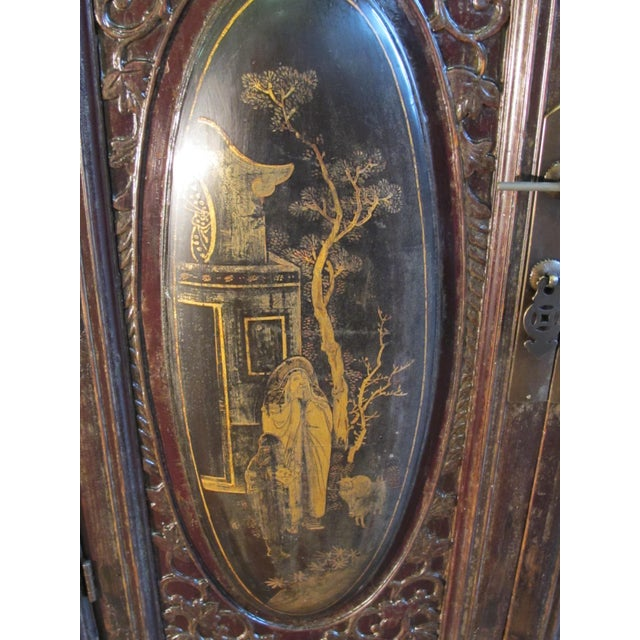 Chaozhou Painted & Carved Cabinets on Stand - Set of 3 For Sale In Boston - Image 6 of 13