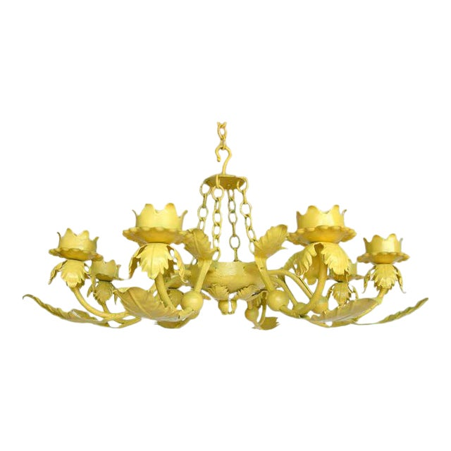 Painted Yellow Hand Wrought iron Leaf Chandelier For Sale