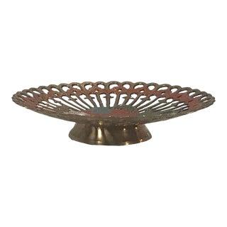 Vintage Pierced Brass and Enamel Etched Design Bowl For Sale