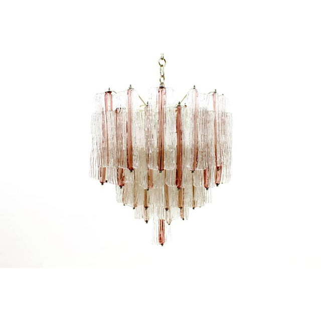 Large Pink and White Venini Murano Chandelier by Toni Zuccheri, 1960s For Sale - Image 11 of 11