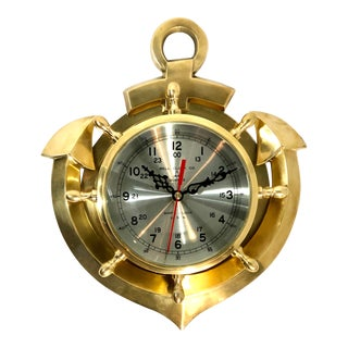 Vintage Solid Brass Nautical Anchor Clock For Sale