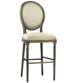 Vintage Linen Bar Stool For Sale