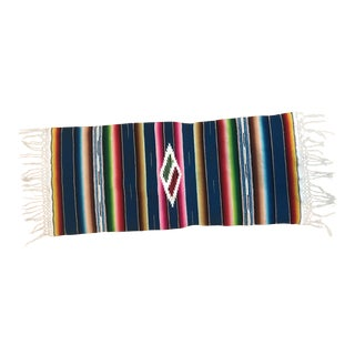 1960s Vintage Vibrant Serape Saltillo Runner For Sale
