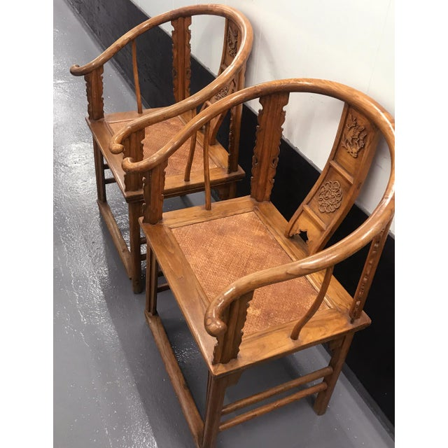 Mid 19th Century 19th Century Large Chinese Ming-Style Horseshoe Back Chairs- A Pair For Sale - Image 5 of 13