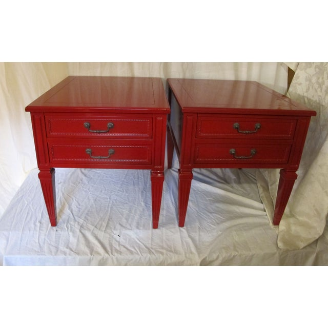 Vermillion Neoclassical 1960s Side Tables - A Pair - Image 7 of 7